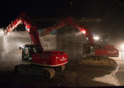 Sotrag - démolition d'un pont sur l'autoroute A9 Villeneuve